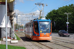 The tram on the city street Moscow. Summer sunny day Royalty Free Stock Image