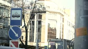 Tram in the city. Sunny day stock video