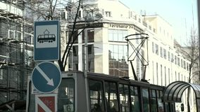 Tram in the city. Sunny day stock video footage