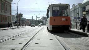 Tram in the city. Sunny day stock footage