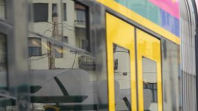 Tram Close Up. Close Up of a driving tream in Budapest, Hungary stock video
