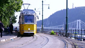 Tram comes and stops in the tram stop. In slow motion. Budapest, Hungary stock video