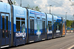 Tram comes to CERN Royalty Free Stock Photos