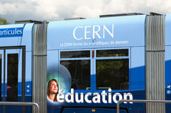Tram comes to CERN Royalty Free Stock Photo