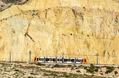 Tram coming from Benidorm to Alicante, Spain Royalty Free Stock Photos