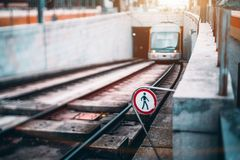 Tram coming from underground tunnel Royalty Free Stock Photo