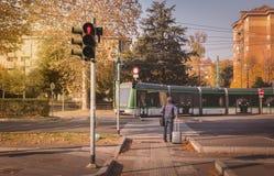 Tram from the company Azienda Trasporti Milanesi circulating in Royalty Free Stock Photo