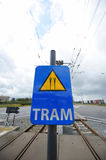 Tram crosses sign Stock Image