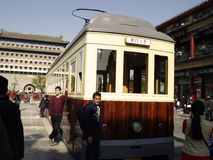 Tram - the Dang Dang Che in Qianmen Street Royalty Free Stock Images