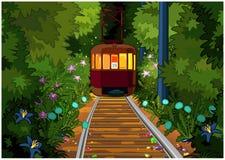 Tram dans la forêt magique Image libre de droits