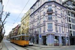 Tram dans la ville de Sofia, Bulgarie Photos stock