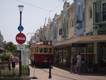 Tram dans nouveau Regent Street, Christchurch Image stock