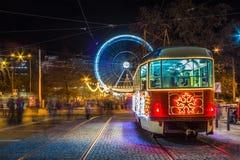 Tram de Noël chez Moravian Squere à Brno photographie stock