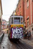 Tram Departs in Lisbon royalty free stock photos