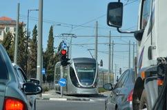 Tram de rail de lumière de Jérusalem - Israël Images stock