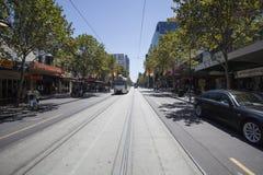 Tram in de Stad van Melbourne Stock Foto's