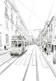 Tram in de straat van Lissabon portugal europa Hand getrokken vectorillustratie stock illustratie