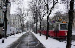 Tram in de Winter, Wenen Royalty-vrije Stock Fotografie