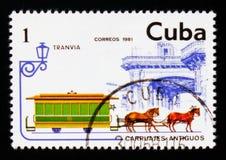 Tram del cavallo, serie di trasporto, circa 1981 Fotografia Stock