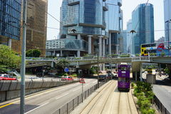 Tram dell'autobus a due piani Fotografia Stock