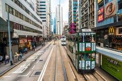 Tram dell'autobus a due piani di Hong Kong in centrale Fotografia Stock Libera da Diritti