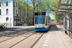 Tram departing from Weesperplein in Amsterdam Netherlands. Tram departing from Weesperplein in Amsterdam in the Netherlands Stock Photos