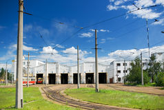 Tram depot Stock Images