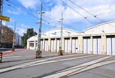 Tram depot in Helsinki Stock Photo