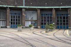 Tram depot at the Lek in Amsterdam. At the during the war broke out the February strike, Netherlands Royalty Free Stock Photos