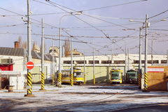 Tram depot Royalty Free Stock Photo