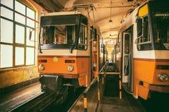 Tram in der Garage Lizenzfreies Stockfoto