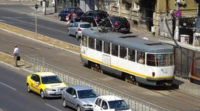 Tram in der Station - Bukarest Stockfotos