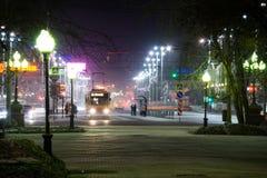 Tram di notte Fotografie Stock Libere da Diritti