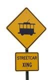 Tram die teken kruist Royalty-vrije Stock Fotografie