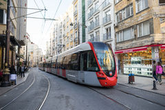 Tram in downtown in Istanbul Royalty Free Stock Image