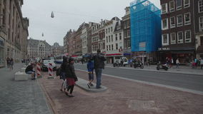Tram driving in Amsterdam. City center in the Netherlands stock video footage