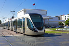 Tram driving in Rabat Morocco. Tram driving in Rabat in Morocco Stock Images