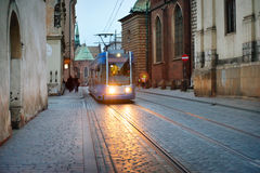 Tram on european city street Royalty Free Stock Images