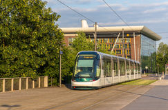 Tram in the European district of Strasbourg Royalty Free Stock Photography