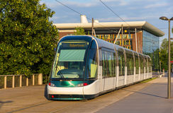 Tram in the European district of Strasbourg Stock Images