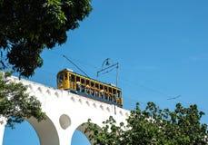 Tram famoso da Lapa al distretto di Santa Teresa, Rio de Janeiro fotografia stock