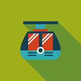 Tram flat icon with long shadow. Cartoon vector illustration stock illustration
