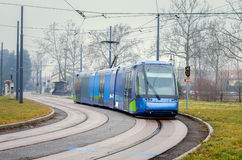 Tram on a Foggy Winter Morning Stock Images