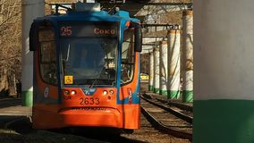 Tram 9. Forward motion of tramway 71-623 travels on rails stock footage