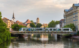 Tram at Gallia station in Strasbourg, Alsace, France Royalty Free Stock Photos