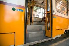 Tram in garage fotografia stock