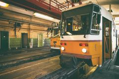 Tram in garage Royalty Free Stock Images