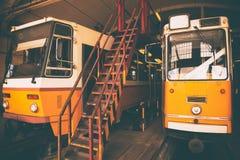 Tram in garage Royalty Free Stock Photos