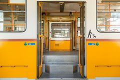 Tram in garage Royalty Free Stock Photography