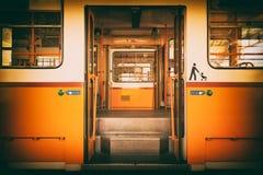 Tram in garage Stock Images
